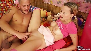 Teenyplayground Baby sitter cock-squeezing snatch ruined by senior stud with obese rod