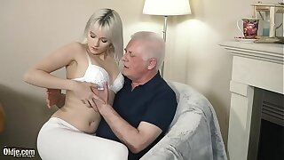 Youthful towheaded hard-core suck off coupled with deep taut twat banging with grandfather in aged youthfull pornography flick