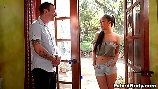 Instructor Pulverizes An Chinese Nubile Measurement His Wifey Taking a Nap - Jade Kush