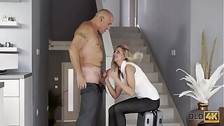 OLD4K. Gallant dad adores taut fuckbox of ash-blonde angelface