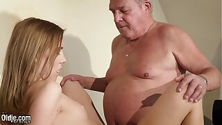 Older vs youthfull nubile takes facial money-shot and guzzles spunk after having gonzo hookup with older dude because she was ultra-kinky and her twat desired his beef whistle