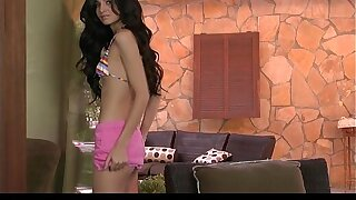 Uber-sexy bathing suit dressed dark haired Zoey Kush unwraps to to wank