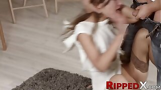 Atrophied nubile model spanked around and harshly plowed united with backside