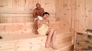 Amazingly naughty sauna stunner Paige Turnah pummels phat spunk-pump until she quirts