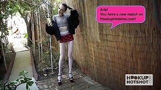 Thin teenage elderly bag Aria Haze gets banged again by Intercourse Hotshot