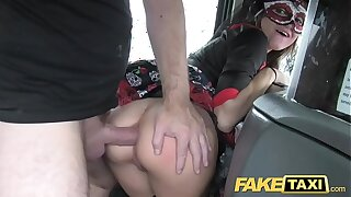 Shtick Taxi girl in mask gets fucked in be imparted to murder ass after bf leaves her