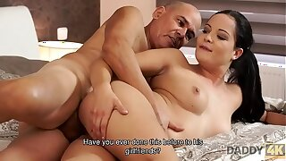 DADDY4K. Brunette Dolly Diore in ground-breaking glum lingerie gets fucked