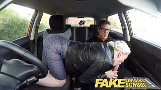 Fake Driving Instructor obese tits hairy pussy student has creampie and squirts