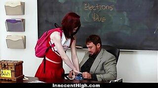 InnocentHigh - Redhead Cheerleader Rides Her Teachers Big Blarney