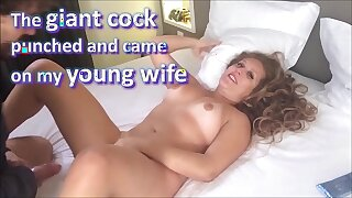 The giant cock friend punched and spunked on my brand new wife, and she loved it - real amateur whores and cuckolds - complete on red