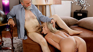 OLD4K. Elder and obscene teacher