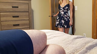 Sister wakes step bro with a blowjob and gets a creampie